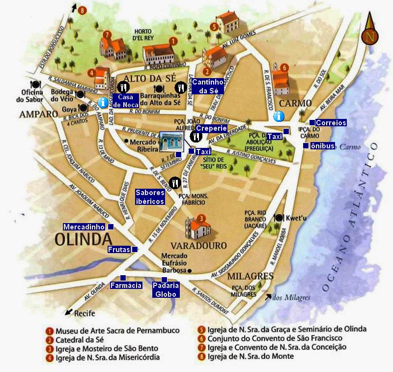Mapa do centro no sítio histórico de Olinda